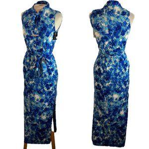 Grifflin Paris Maxi Dress Blue Watercolor M Medium
